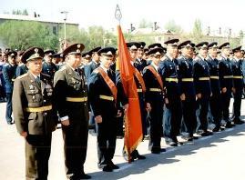 Торжественное построение по случаю презда Ельцина